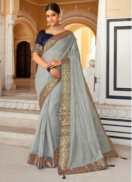 Zari Cotton Casual Saree in Grey