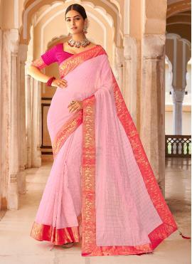 Zari Cotton Casual Saree in Pink