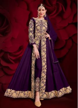 Zari Faux Georgette Designer Floor Length Salwar Suit in Purple