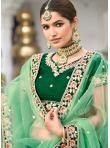 Zari Silk Lehenga Choli in Green - 1