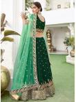 Zari Silk Lehenga Choli in Green - 3
