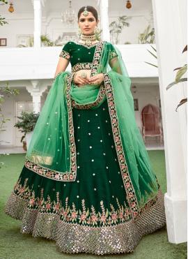 Zari Silk Lehenga Choli in Green