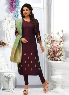 Zari Silk Salwar Suit in Wine