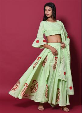 Zesty Block Print Cotton Green Lehenga Choli