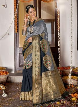 Zesty Grey Weaving Banarasi Silk Designer Saree