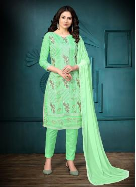 Zesty Sea Green Cotton Churidar Designer Suit