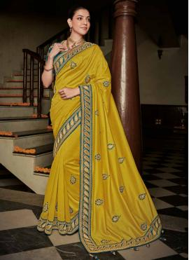 Zesty Silk Weaving Yellow Contemporary Saree