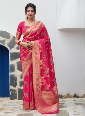 Zesty Weaving Pink Silk Classic Saree